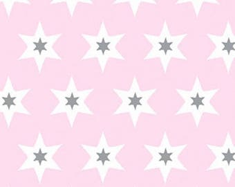 Fabric Gutermann stars gray and white rose-Long Island Collection