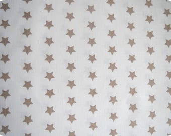Fabric beige stars, 140cm wide