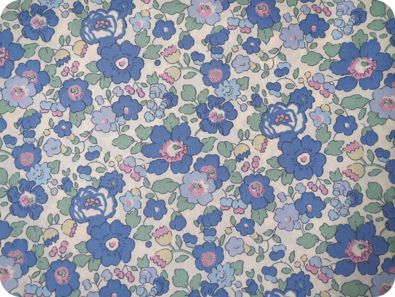 Liberty Betsy blue green fabric  Vintage Collection image 0