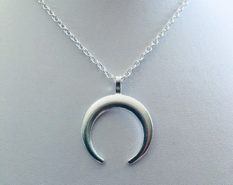 Double horned crescent moon, lunar, celestial necklace.