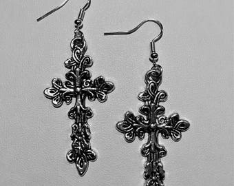Gothic filigree silver plated cross earrings.