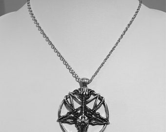 Silver plated Baphomet, devil, pentagram necklace.