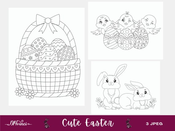 3 Printable Cute Easter Coloring Pages  JPEG  Personal