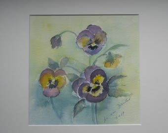watercolour painting, pansy, 30 x 30 cm