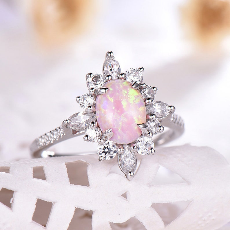 583ce4d39171d Antique Pink Opal Engagement Ring CZ Diamond Halo 14k White Gold 925  Sterling Silver Flower Vintage Wedding Bridal Anniversary Gift Retro