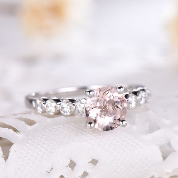 Natural Round Cut Morganite Engagement Ring Cz Diamond 14k 925 Etsy