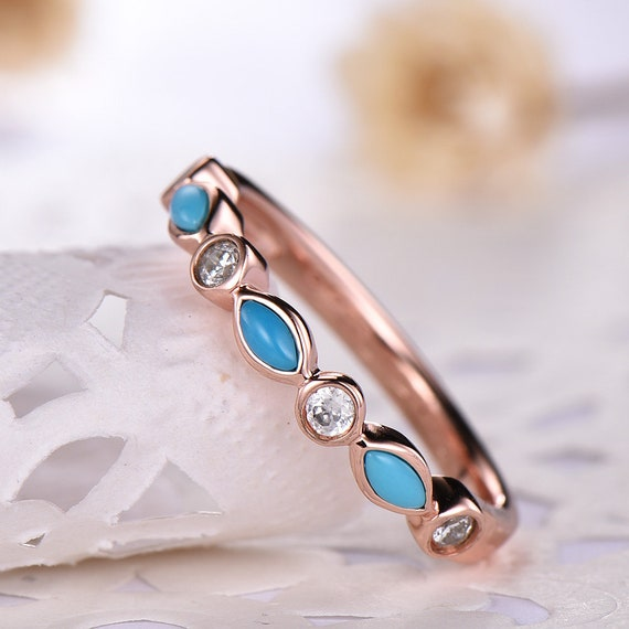 Women/'s Solid 925 Sterling Silver CZ Baguette Turquoise 2 Band Ring
