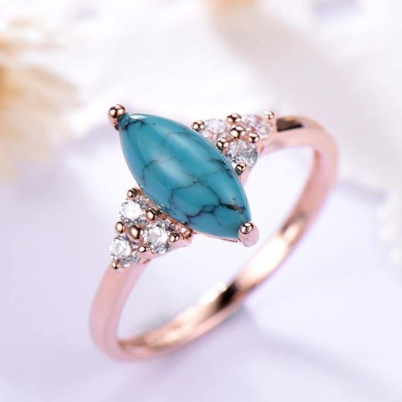 Black Blue Turquoise Engagement Ring 14k 18k Rose Gold CZ Diamond Split Shank Wedding Band 925 Sterling Silver Solitaire Bridal Anniversary