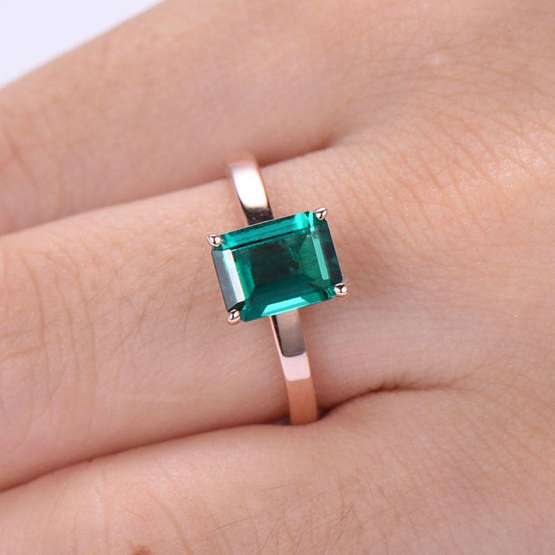 Emerald Engagement ring rose gold Solitaire Curved Side in 925 sterling silver with Man made CZ diamond stacking band Unique design