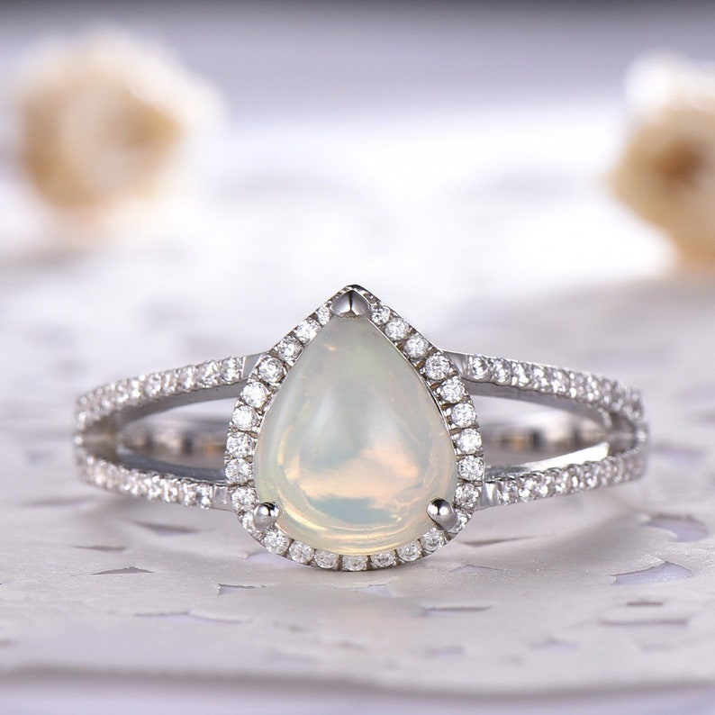 42e773689d0e4 Natural Opal Engagement Ring Pear Shaped Cut CZ Diamond Wedding 925  Sterling Silver 14k White Gold Split Shank Art Deco Antique Anniversary