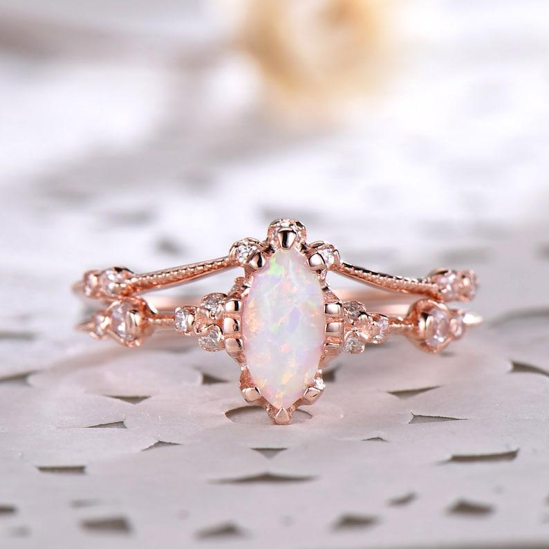 Marquise Shaped Opal Cz Diamond Engagement Wedding Ring Set Etsy