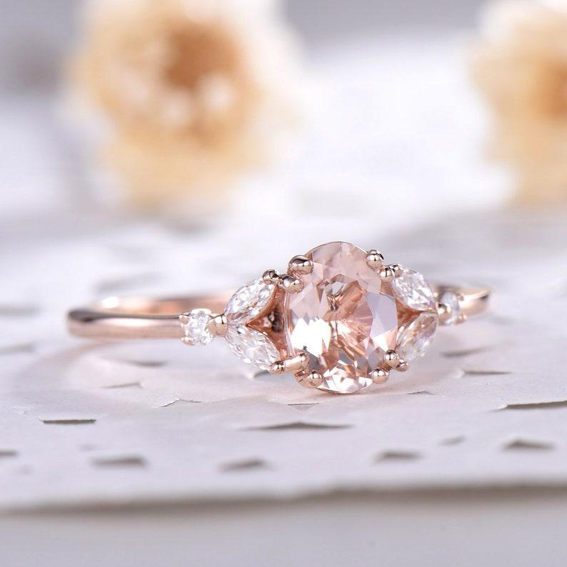 Natural Pink Morganite Engagement Ring 14k Sterling Silver image 1