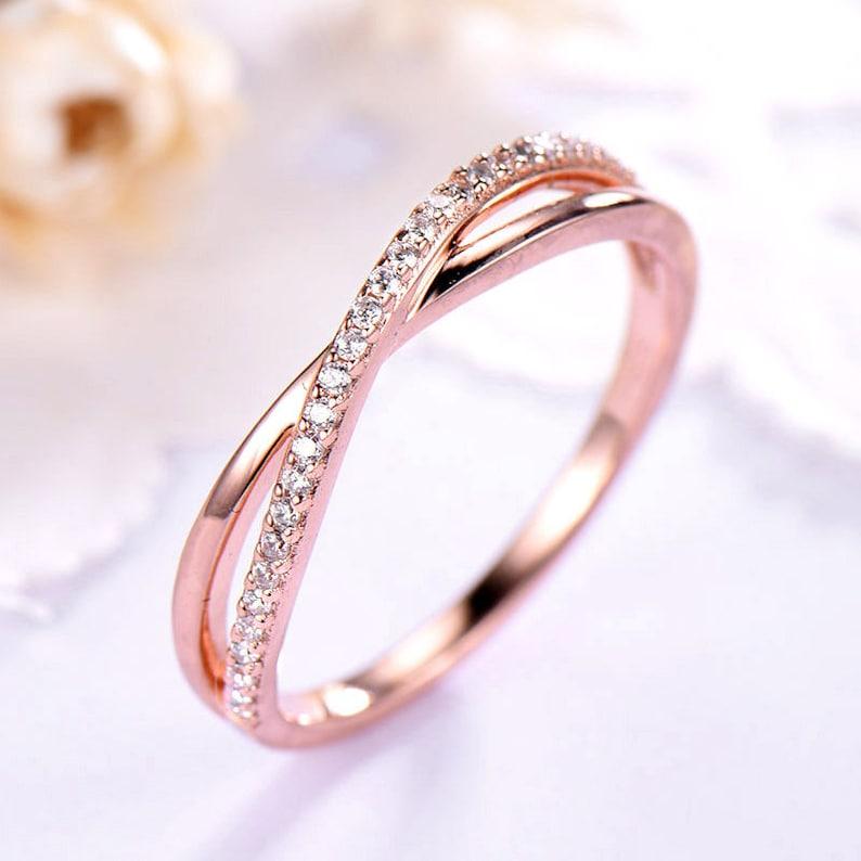 6b29fdf900 CZ Diamond Wedding Band Rose Gold 14k 18k 925 Sterling Silver | Etsy