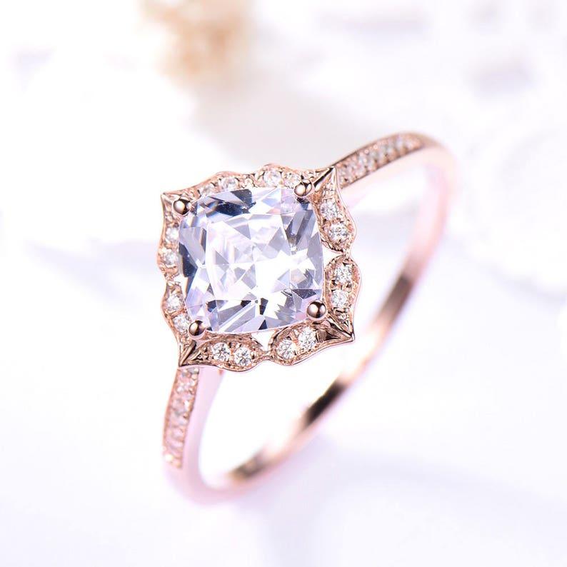 Cushion Cut Cz Engagement Ring Rose Gold 925 Sterling Silver Antique Diamond Floral Halo Women Wedding Ring Bridal Flower 14k 18k Vintage