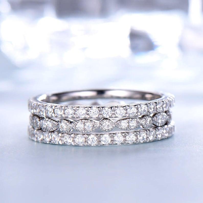 Full Eternity Wedding Ring Sets White Gold 14k 18k Or In 925 Etsy