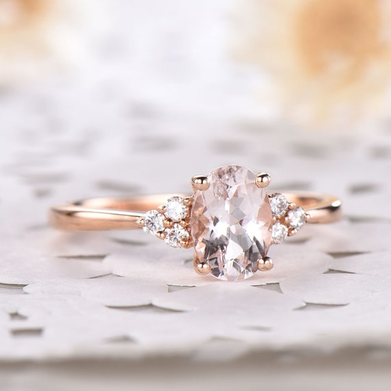 Rose Gold Plated Sterling Silver Morganite and CZ Fashion Cluster Ring Vintage Style