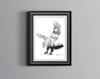 Isaiah 40:31 Bible Verse Print   Those who hope in the Lord   Hand Drawn   Christian Wall Art   Eagle   Dotwork   Gift   Double Exposure