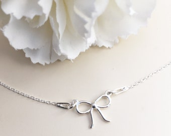 9b1a22ca0 Bow necklace | bow Ribbon necklace | Delicate bow pendant | dainty charm | bow  Chain necklace | gift for women sterling silver 925