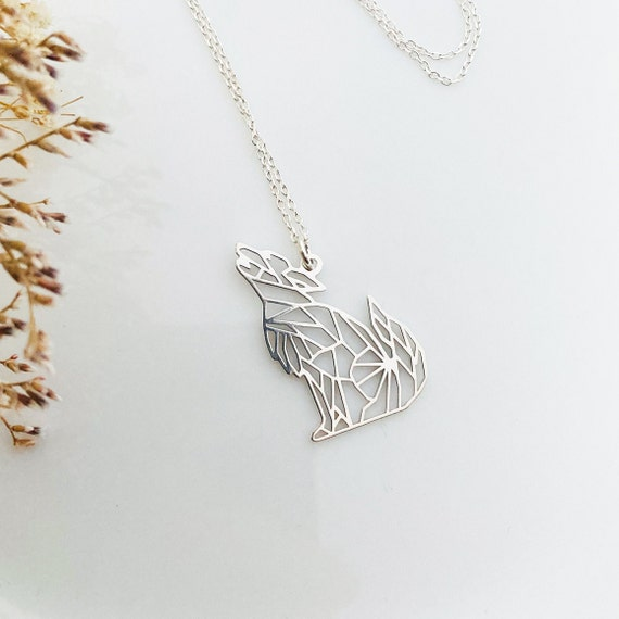 nature origami long necklace gift to offer or afford Wolf bronze