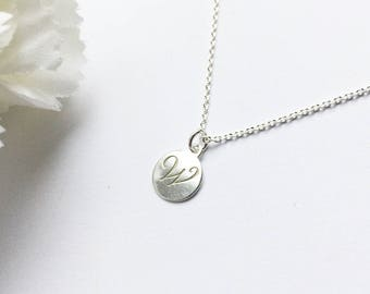 PERSONALIZED W INITIAL NECKLACE-silver W letter-tiny monogram-disc W necklace-customized gift-W engraved necklace-hand stamped necklace