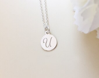 PERSONALIZED U INITIAL NECKLACE-silver U letter-tiny monogram-disc U necklace-customized gift-U engraved necklace-hand stamped necklace