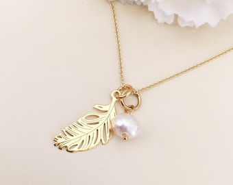 GOLD FEATHER necklace Natural pearl Feather charm Women necklace Delicate pendant dainty charm Sterling silver feather Chain necklace