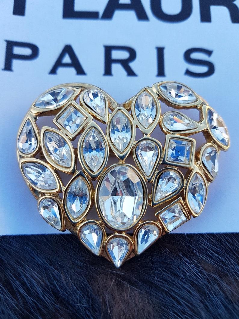 04acfa1ebcb Yves Saint Laurent Paris heart brooch | Etsy