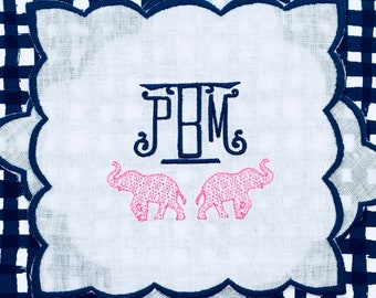 Monogrammed Preppy Pagoda Christmas Tree Cotton Pique Guest   Etsy