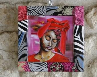 Peinture sur papier et un cadre en bois ~ Femme au turban