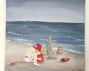 Château de sable ~ toile peinture acrylique