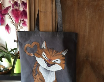 Tote bag sac coton peint~ Love cat meow meow
