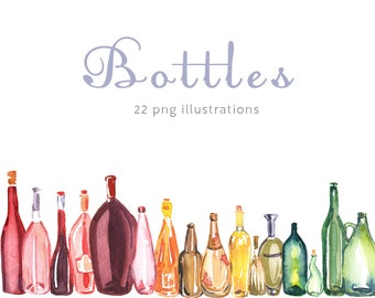 Watercolor Bottles Etsy