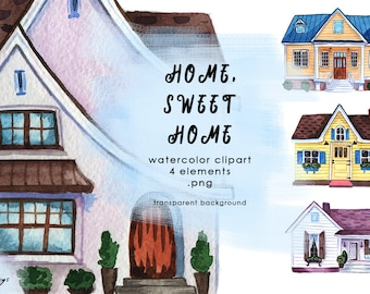 Watercolor Clipart - Houses. Home Sweet Home. Hand painted illustrations, digital. Real estate, property, dwelling, cosy. Instant download.