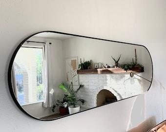 Full length Large Modern Capsule Mirror oval Vanity Decorative Industrial Rectangle Steel Framed Frameless Metal Black White Steel Finish