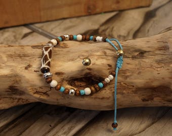 Ethnic bracelet Népale creation LB yak bone