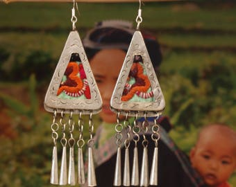 Earrings embroidery silver Miao HMONG ethnic 9 cm