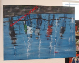 "50 cm x 70 cm Hélène LAONET artwork original painting ""Walk on the Wharf"" signed"