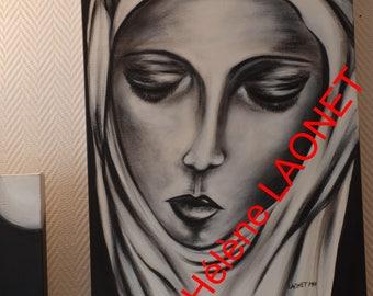 """painting portrait """"Forgive me"""" 65 cm x 50 cm Hélène LAONET signed original artwork"""