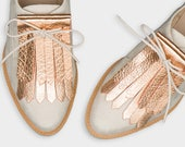 Leather shoe kilties FRINGE ROSEGOLD