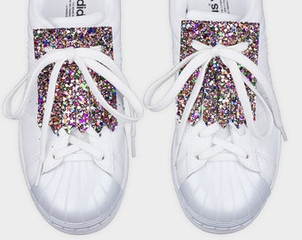 Leather shoe accessories kilties FRINGE GLITTER CONFETTI