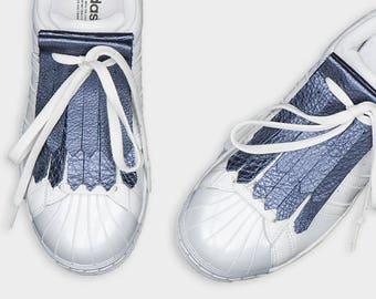 Leather shoe accessories kilties FRINGE BLUE saphire blue