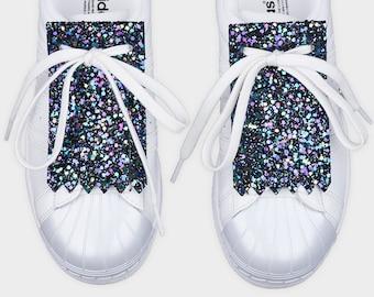 Leather shoe accessories kilties FRINGE GLITTER NIGHTSKY