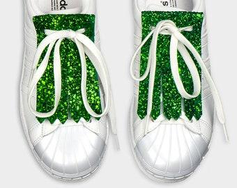 Leather shoe accessories kilties FRINGE GLITTER GREEN