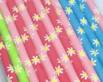 Paper Straws 25 pk Daisies