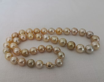 Deep Golden Natural Color South Sea Pearls 10-13 mm Near Round 18 Karat Gold
