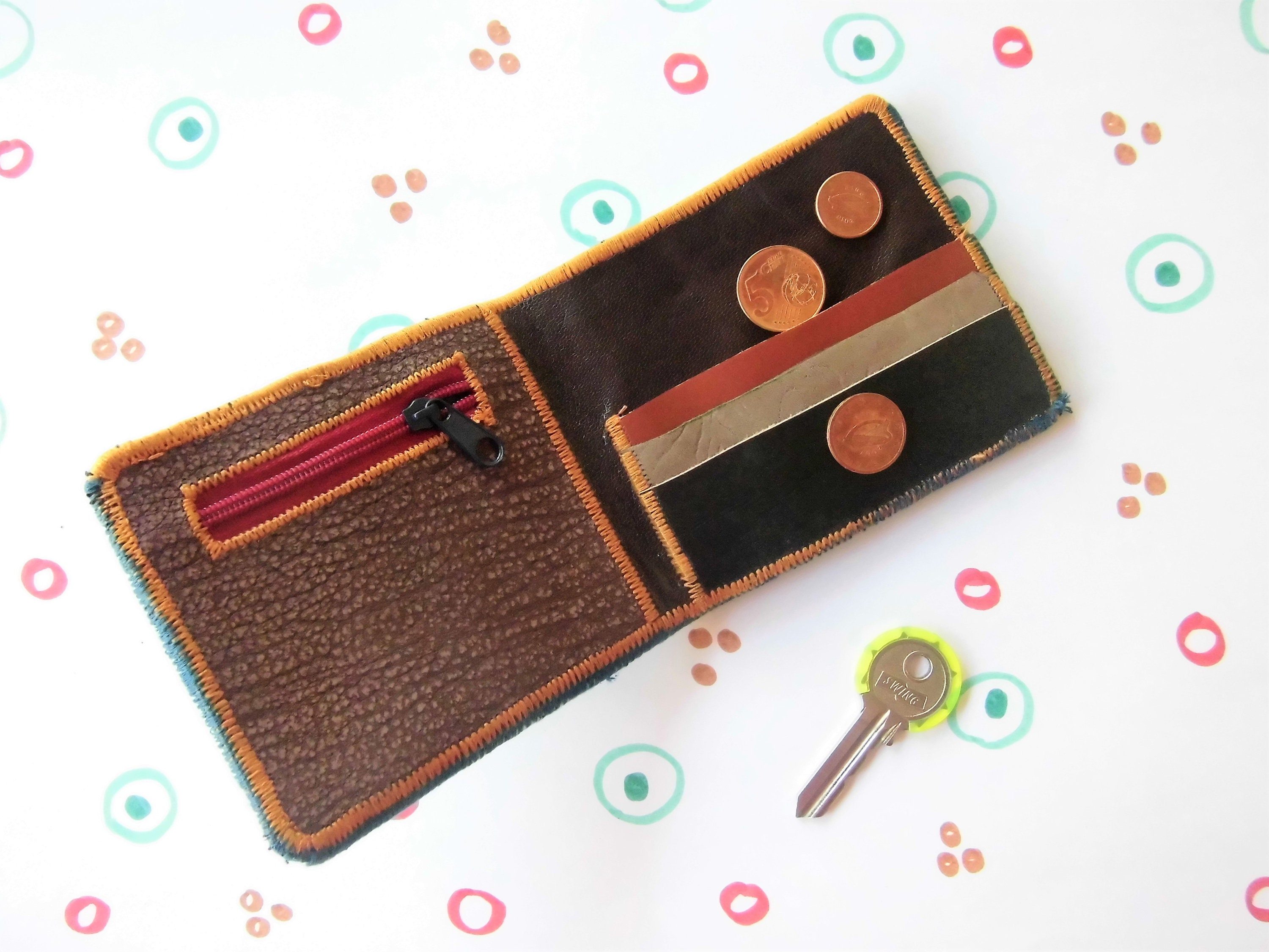 mens leather wallet handmade card holder embroidered