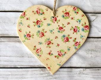 Hecho a Mano Colgante De Decoración De Corazón De Tela Shabby Chic Rosa Flor Ditsy giftv