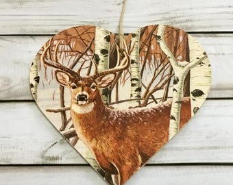 10cm Decoupaged Wooden Hanging Heart Country Stag Countryside Autumn Winter Animals Home Decor Gift