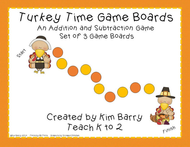 photo regarding Addition and Subtraction Games Printable called Addition and Subtraction Recreation Message boards/Thanksgiving/Math Software/Math Video games/Electronic Obtain/Printable/Academics/Homeschool by means of Practice K in the direction of 2