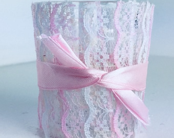 Elegant lace and ribbon jar